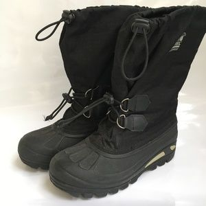 Sorel Boots Super Trooper Mens Size 6 Black Liners